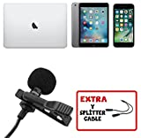 Professional Lavalier Lapel Microphone with Easy Clip On System Omnidirectional Mini Mic for Apple iPhone Android Youtube - Podcast - Interview - Video Recording-Y Splitter Mic And Audio