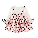 Cute Newborn Infant Baby Girl Princess Dresses, Sweet Bow Long Sleeve Cartoon Birthday Party Clothes Outfits 0-24M