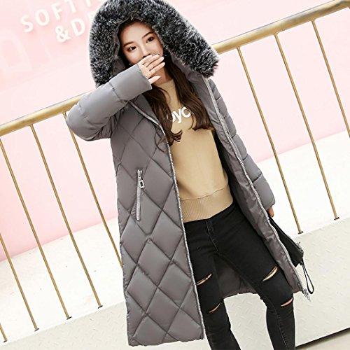 Fashion Thicker Jacket Winer Women Warm Solid Collar Dragon868 Hair Coat Grey Slim Lammy Color t6q7TwA0