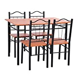 5pc-Dining-Dinette-Table-Chairs-Simple-Special-Black-Wood-Tone-Desk-Top-LSJ-11