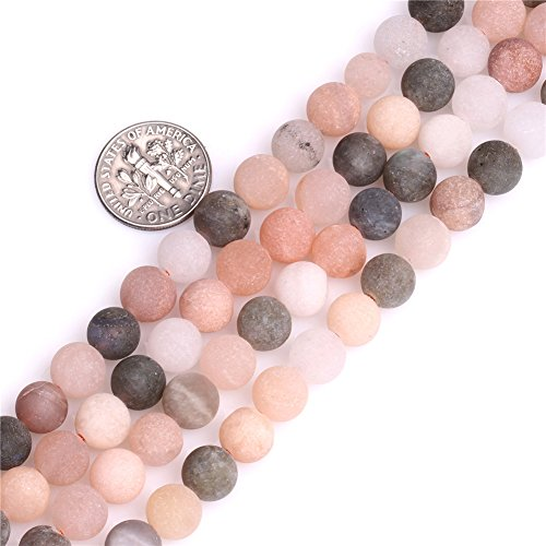 (Moonstone Beads for Jewelry Making Natural Gemstone Semi Precious 8mm Multicolored Matte Frosted Round 15