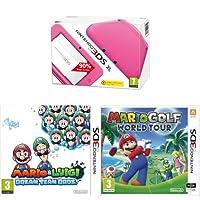 Nintendo 3DS XL Handheld Console - Pink - with Mario and Luigi: Dream Team Bros. and Mario Golf: World Tour