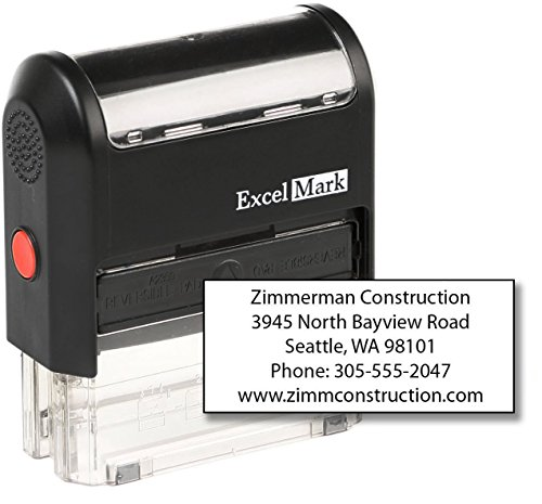- ExcelMark Custom Self Inking Rubber Stamp - Home or Office (A2359-5 Lines)