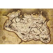The Elder Scrolls V Skyrim XL Parchment Map