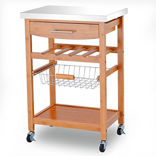 Eight24hours Bamboo Rolling Kitchen Trolley Storage Island Serving Cart  Stainless Steel Top + FREE E