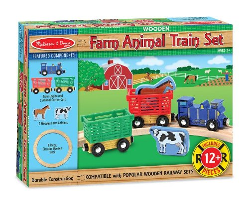 Melissa-Doug-Farm-Animal-Wooden-Train-Set-12-pcs