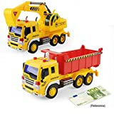 Toy cars, Friction Powered Big Dump Truck Vehicle with Lights and Sounds, Early Education Car Toy Inertial Vehicles for Kids & Toddlers Set of 2
