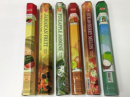 Hem Tropical Fruit Variety Incense Set 6 X 20 = 120 Sticks Variety Gift Pack ()