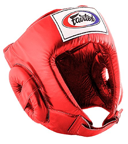 Fairtex HG1 Muay Thai Boxing Competition Headguard HeadGear Helmet (Red, Medium)