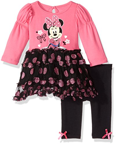 Disney Baby Girls' 2-Piece Minnie Mouse Tutu Dress and Legging Set, Pink, 3/6 Months (Tutu Minnie Mouse)
