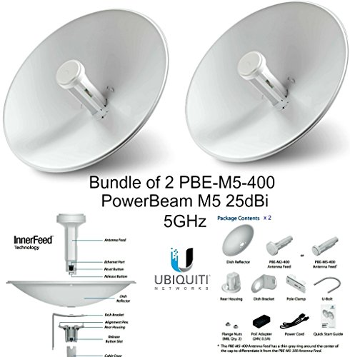 Ubiquiti PBE-M5-400 (2-pack) PowerBeam M5 25dBi 5GHz AirMAX CPE 400mm 150+ Mbps by Ubiquiti Networks