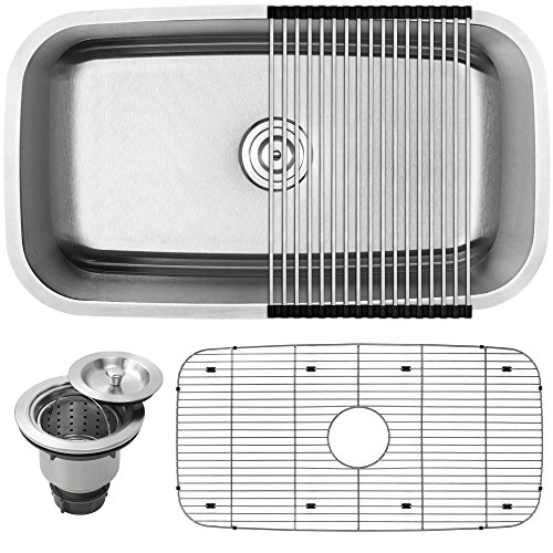 31-12 Ticor S112 Haven Series 16-Gauge Undermount Single Bowl Stainless Steel Kitchen Sink with Accessories