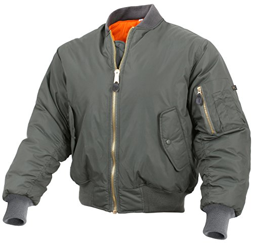 Rothco Enhanced Nylon MA-1 Flight Jacket, L, Sage Green