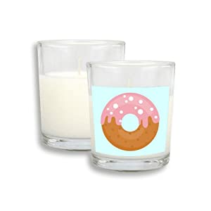 Pink Cream Doughnut Dessert Sweet Food White Candles Glass Scented Incense Wax