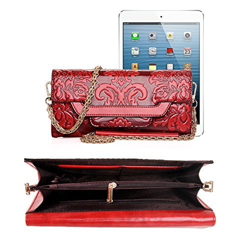 Bag QZUnique Red Leather Vintage Purse Shoulder Chinese PU 1 Printed Style Wind Embossing Handlebag Women's Wallet znxzB4F6