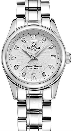 CARNIVAL Mechanical Couple Watches Men and Women His or Hers Gift Set of 2 (White) by Carnival (Image #6)
