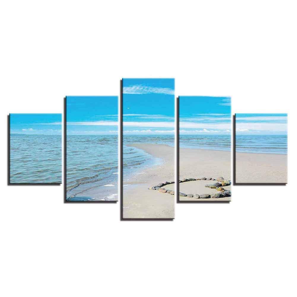 Playa Forma de corazón Piedra Zona Moderno Pintura pared Decoración Resumen Decorativo Imagen pared Decoración Creativo Fondo pared Pintura americano Estilo Pintura,4060CM2+4080CM2+40100CM1