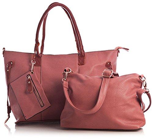 Big Handbag Shop Womens Top Zip Opening 3 in 1 Tote Shopper Long Strap and Make up Bag - Large (Pink ()