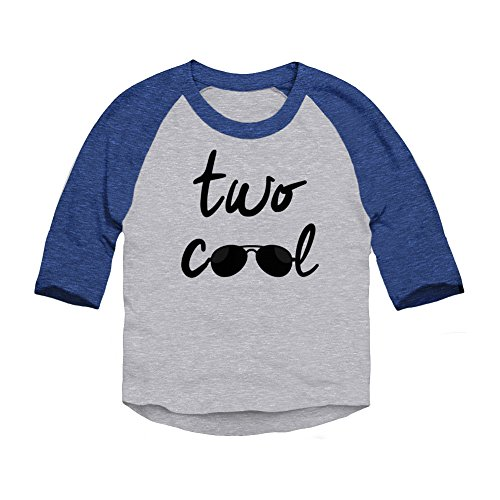 Trunk Candy Two Cool Toddler 2 Year Birthday 3/4 Sleeve Raglan Baseball T-Shirt (Heather / Royal, 2T) (Sleeve 3/4 Birthday)