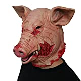 DeemoShop Adult Halloween Smoke Pig Cosplay Creepy Animal Prop Latex Party Unisex Scary Pig Head Mask Animal Joker Costume