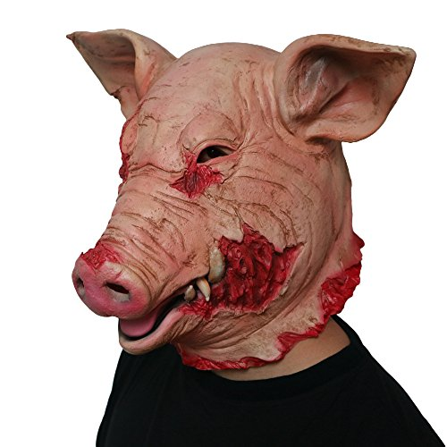 (DeemoShop Adult Halloween Smoke Pig Cosplay Creepy Animal Prop Latex Party Unisex Scary Pig Head Mask Animal Joker)