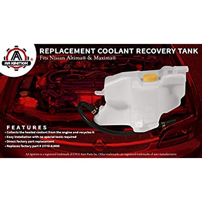 Coolant Reservoir Tank with Overflow Tube - Replaces 21710-8J000, NI3014105, 603-614 - Fits 2002-2006 Nissan Altima 2.5L and 3.5 V6, 2002-2008 Nissan Maxima 3.5L V6 - Coolant Recovery Bottle Tank: Automotive