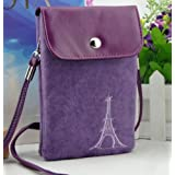 Big Mango Multipurpose Famous France Eiffel Tower Design Two separated Pouches Cell Phone Soft Fuzz and PU Leather Bag Crossbody Purse for Apple Iphone 4 4s Iphone 5 5s 5c Samsung Galaxy S4 S3 Galaxy Note 2 HTC Money Key Cards with Shoulder Strap & Magnetic Snap Buttom Closure ( Purple )