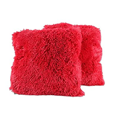Sweet Home Collection Plush Pillow Faux Fur Soft and Comfy Throw Pillow (2 Pack), Red