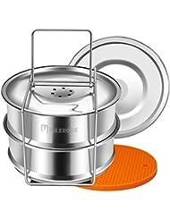 Maxrock Stackable Stainless Steel Steamer Insert Pans Instant Pot Accessories for Instapot 6/8 qt- Food Steamer for Pressure Cooker, Baking, Lasagna Pans.