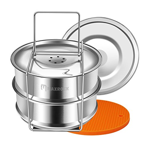 Maxrock Stackable Stainless Steel Steamer Insert Pans Instant Pot Accessories for Instapot 6/8 qt- Food Steamer for Pressure Cooker, Baking, Lasagna Pans. (Pot Stackable)