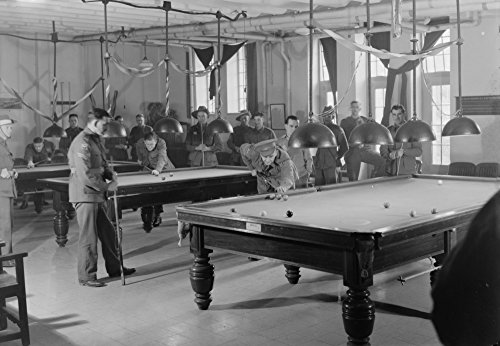 Billiards Room for Soldiers at the Y.M.C.A. - Vintage Photograph (9x12 Fine Art Print, Home Wall Decor Artwork Poster)