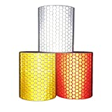 Viewm Reflective Tape 3 Rolls Safety Strips Warning Films 3m × 5cm / 3.28 yard × 2 inch Per Roll (Silver Orange Red)