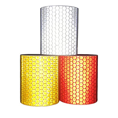 Viewm Reflective Tape 3 Rolls Safety Strips Warning Films 3m × 5cm / 3.28 yard × 2 inch Per Roll (Silver Orange Red) by Viewm