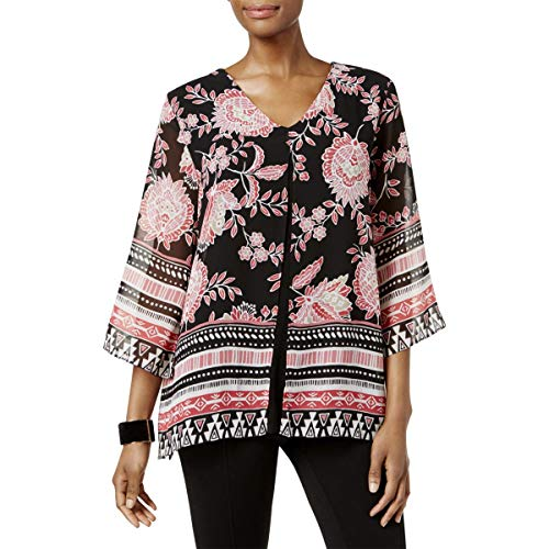 JM Collection Womens Petites Printed Elbow Sleeves Tunic Top Black PS