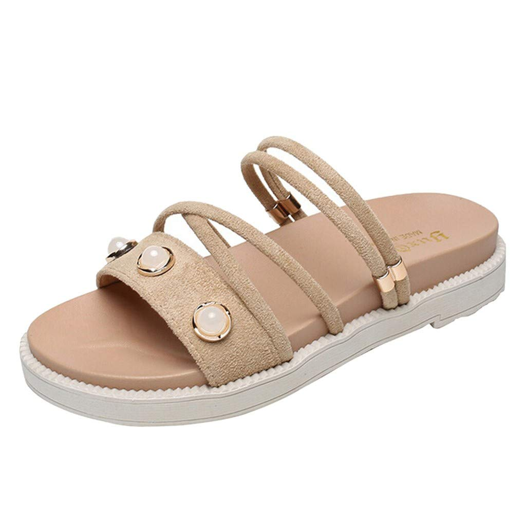 ZOMUSAR New! 2019 Women's Summer Casual Fashion Flat Bottom Roman Round Head Non-Slip Slippers Beige