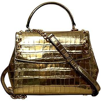 95353f82ef5905 Michael Kors Karla Top Handle Embossed Leather Satchel Crossbody (Medium,  Gold)