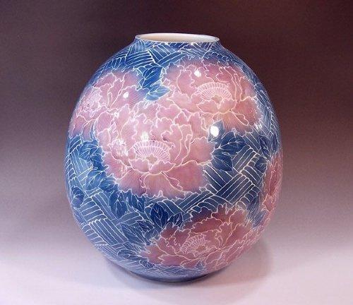 有田焼伊万里焼|花瓶陶器花器壺|贈答品|高級ギフト|贈り物|記念品|釉裏紅牡丹藤井錦彩 B00HJ03S2Q