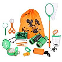 Kid Adventure Kit, 12 Piece Outdoor Exploration Kit, Children's Toy Binoculars, Flashlight, Compass, Butterfly Net, Magnifying Glass, Whistle, Best Gifts for Birthday, Camping, Hiking, Educational