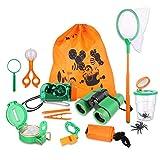 Kid Adventure Kit, 12 Piece Outdoor Exploration Kit, Children's Toy Binoculars, Flashlight, Compass