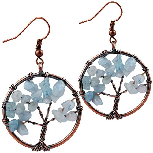 SUNYIK Aquarine Tree of Life Dangle Earrings for Women(Copper ()