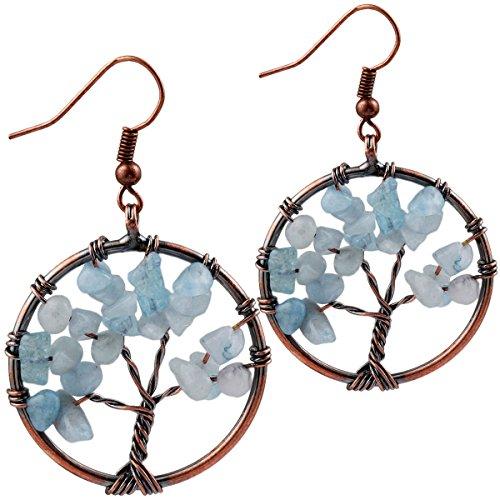 SUNYIK Aquarine Tree of Life Dangle Earrings for Women(Copper Plated)
