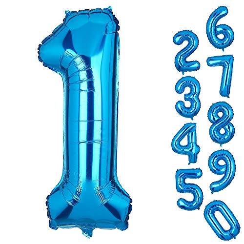 Big Number 1 Balloons Blue Mylar Foil Helium