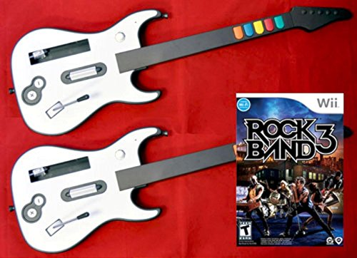 2 Nintendo Wii U or Wii Wireless Guitar Controllers and Rock Band 3Video Game Kit bundle set play music -  Aftermarket