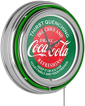 Red Green Coca Cola Neon Clock – Two Neon Rings
