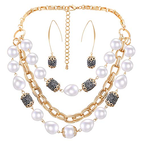 LILIE&WHITE Simulated Glass Pearl Wedding Jewelry Set for Women in 14K Gold Bridal Jet Acrylic Crystal Statement Necklace Dangle Earrings Set