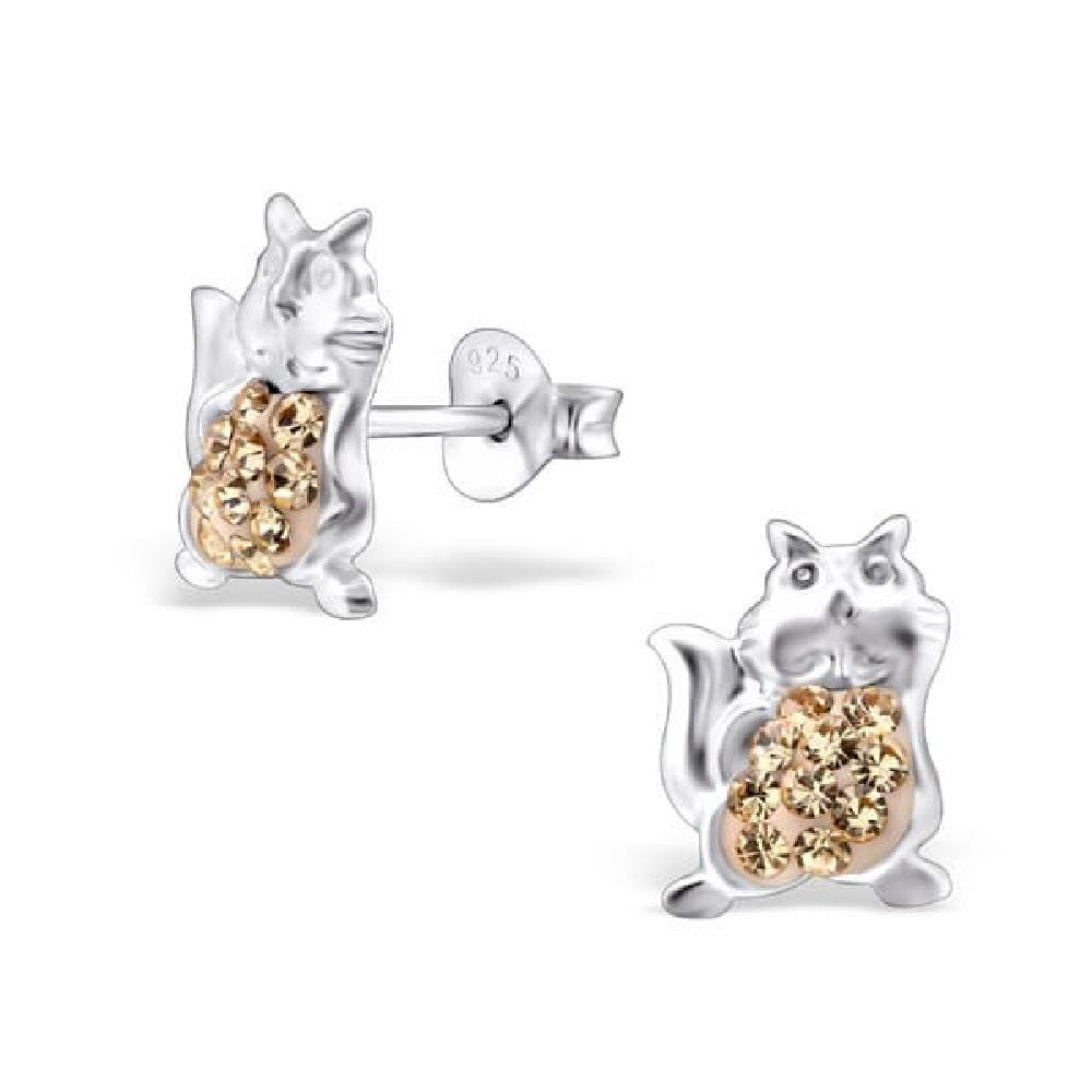 Childrens 925 Sterling Silver Cat Ear Studs with Crystal So Chic Jewels