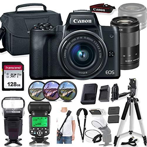 Canon EOS M50 Mirrorless Digital Camera (Black) and 15-45mm & 55-200mm Lens w/High Speed Flashlight + Prime Accessory Bundle