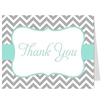 thank you cards chevron stripes mint green gray bridal shower