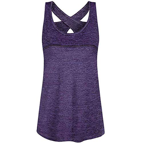 Sttech1 Woman Sleeveless Round Neck Criss Cross Back Athletic Yoga Shirt Top T-Shirt Purple