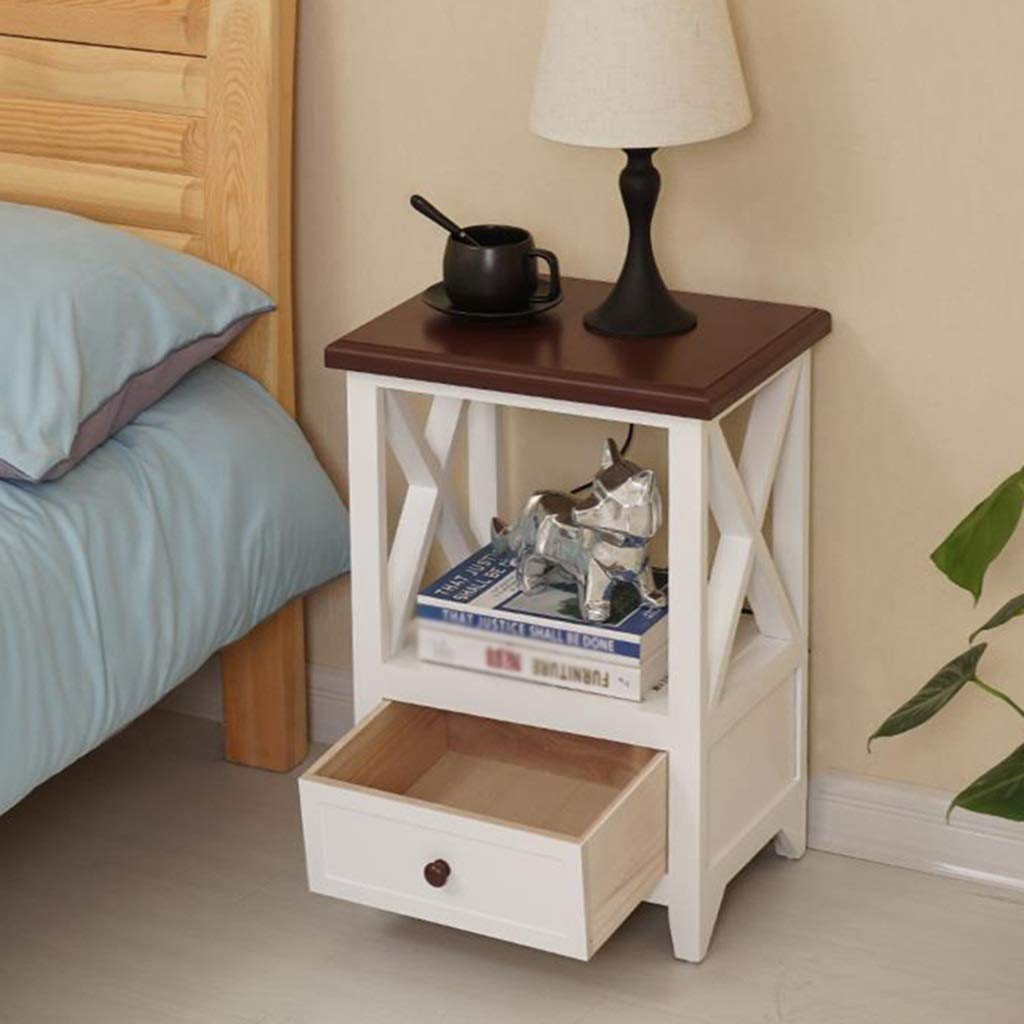 ZDNALS Bedside Table,Bedroom Night Stand, Petite, Drawer Bedside TableStackable Contemporary Modular Cube Accent Table with Drawer for Bedroom, Living Room Bedside Table (Color : Brown)